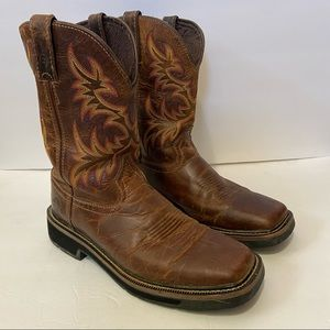 Justin WK4681 Men's Brown Leather Cowboy Boots 9.5